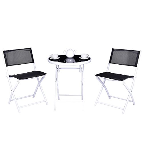Giantex 3 PCS Folding Bistro Table Chairs Set Garden Backyard Patio Outdoor Furniture (Black) (Table Sets Chair Outdoor And)