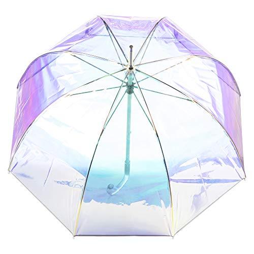 totes Women's Signature Clear Bubble Umbrella, Iridescent