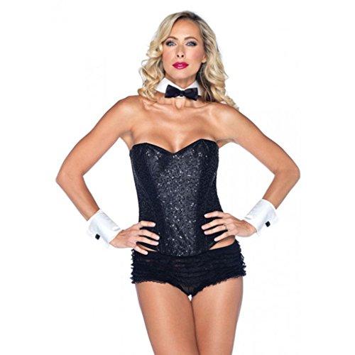 Mememall Fashion Playboy Bunny Waiter Tuxedo Kit Bow Tie Collar Wrist Cuff Halloween Costume Set (Tuxedo Playboy Bunny Costume)