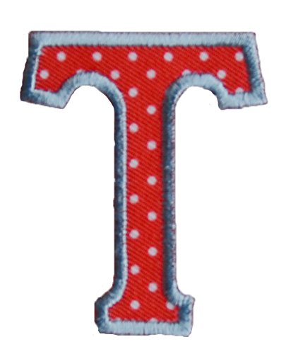 - TrickyBoo Iron-On Letter Patch Craft Applique T Red White 9Cm Personalize Crafts Jeans Clothing Fabric Names To Iron On Jacket Neckerchief Ceiling Flag Pants Plate Backpack Trousers Cushion Scarf Bun