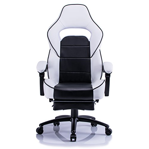 Aminiture Executive High Back Sport Racing Style Gaming Office Chair Recliner PU Leather Swivel Computer Desk Armchair with Footrest (White) by Aminiture (Image #1)