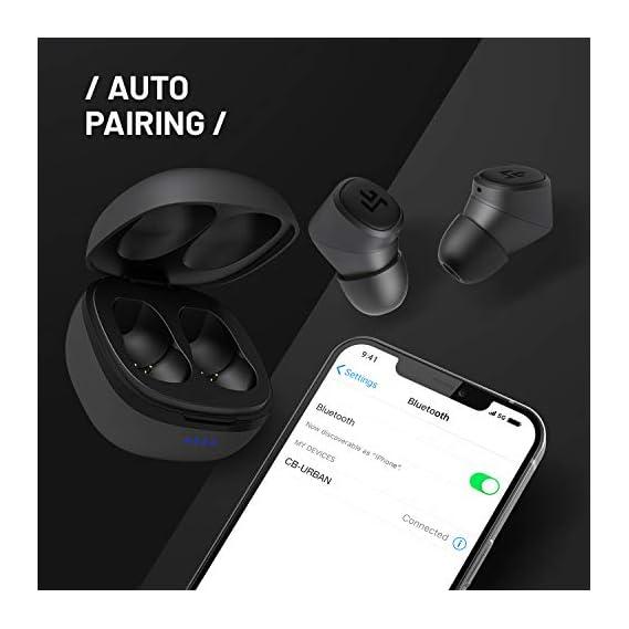 CROSSBEATS Urban Latest True Wireless in-Ear Earbuds Earphones Headphones Bluetooth 5.0 in-Built Mic 3D Sound 12Hrs Auto Pairing Sports Headset Stereo Calls Deep Bass (Matte Black)