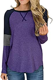 osazic Women's Color Block Round Neck Tunic Tops Casual Long Sleeve and Short Sleeve Shirt Blouse XS