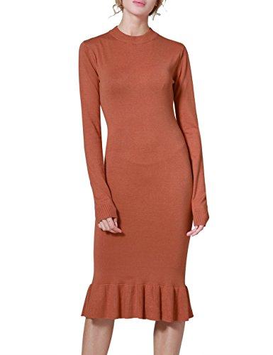 Rocorose Women's Sexy Bodyon Mermaid Mock Neck Long Sleeve Knit Dress Tangerine S