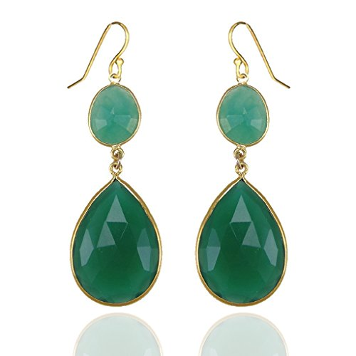Green Onyx Gold Double Drop Earrings - Bezel Gemstone Designers Earrings (Green Onyx Earrings)
