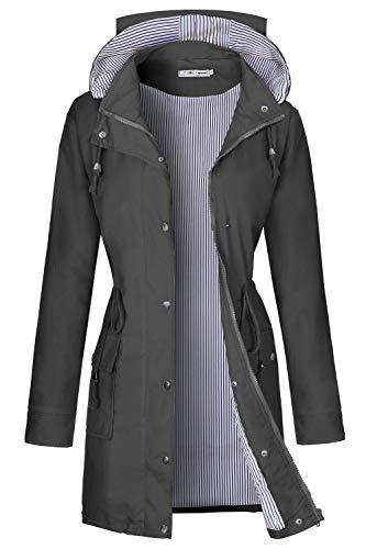 BBX Lephsnt Women Striped Lined Long Lightweight Raincoat Outdoor Waterproof Windbreaker