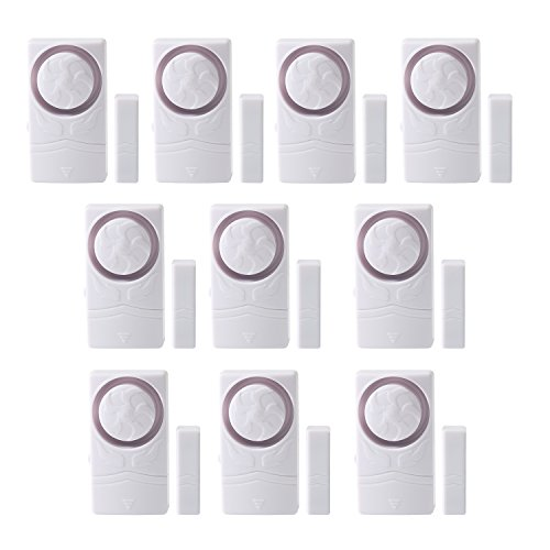 Wsdcam Door and Window Alarm for Home Antitheft Alarm Systems Magnetic Sensor Time Delay Alarm(10-Pack), Loud 110 dB by wsdcam