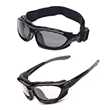 2 Motorcycle Goggles Polarized Clear Lenses Day Night, Helmet Sunglasses Interchangeable Temples Strap (2 Pairs)