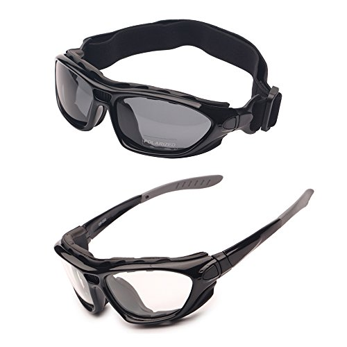 2 Motorcycle Goggles Polarized Clear Lenses Day Night, Helmet Sunglasses Interchangeable Temples Strap (2 - Helmet Motorcycle With Sunglasses