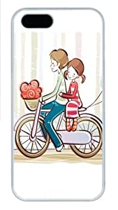 Cycling couple illustrator Polycarbonate Hard Case Cover for iPhone 5/5S ¡§C White