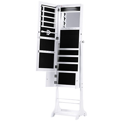 LANGRIA 10 LED Jewelry Armoire Lockable Jewelry Cabinet Full-Length Mirrored Free Standing with Shoe Rack Bottom Shelf, Organizer for Rings, Earrings, Bracelets, Broaches and Cosmetics, White