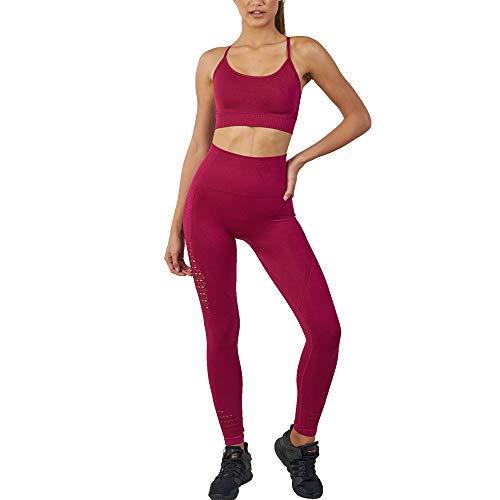 WODOWEI Women 2 Piece Outfits Leggings+Sports Bra Yoga Set Long Pants Tracksuits (YO316-red-S)