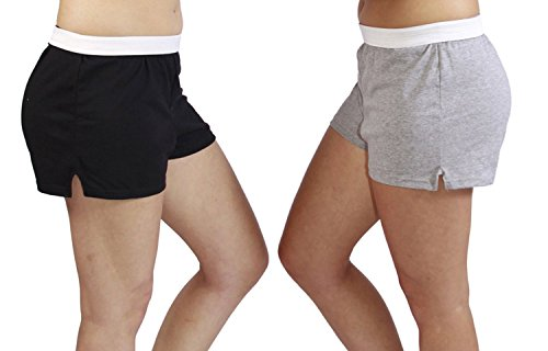 Jerzees Juniors Pack of 2 womens gym/running/yoga/cheer shorts - Black and Grey S ()