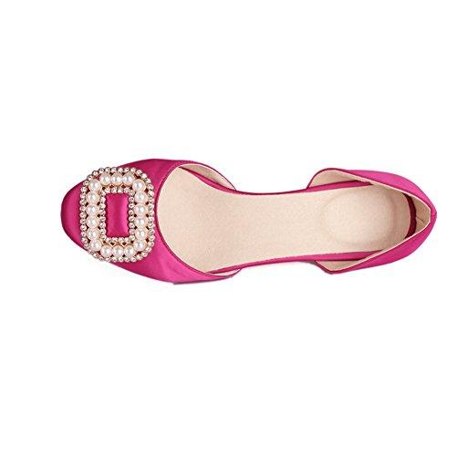 AllhqFashion Damen Blend-Materialien Ziehen auf Rund Zehe Ohne Absatz Rein Pumps Schuhe Rosa
