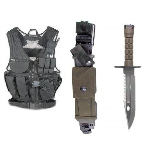 Ultimate Arms Gear Stealth Black Lightweight Edition Tactical Scenario Military-Hunting Assault Vest w/ Right Handed Quick Draw Pistol Holster + Tactical Limited Edition Special Forces Series Stainless Steel M9 M-9 Military Sawback Survival Blade Bayonet