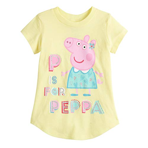 Jumping Beans Toddler Girls 2T-5T Peppa Pig P is for Peppa Graphic Tee 4T Yellow (Girls Pepa Pig)