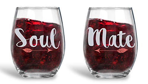 Soul Mate - 15oz Crystal Wine Glasses - Couples Stemless Wine Glasses - His And Hers Gifts Ideas For Anniversary, Weddings, Bridal Showers