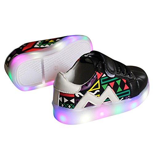 Highdas Muchachas de los bebés primero camina los zapatos enciende para arriba las zapatillas de deporte LED Black