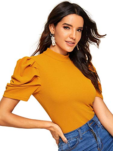 Floerns Women's Puff Short Sleeve Mock Neck Cutout Back Blouse Tops Ginger XL