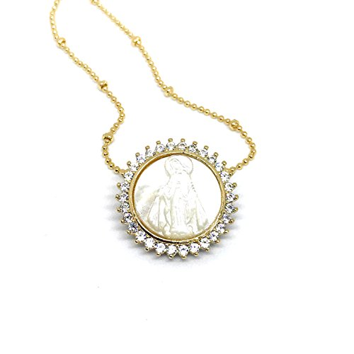 (LESLIE BOULES Miraculous Medal Necklace 17.7