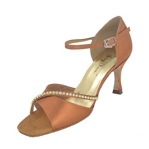 Latin Salsa Open Ballroom for Shoes Foo 75 Heel toe Women 2 with Tan Sandals Dance Tango Jig 0wqFXI0
