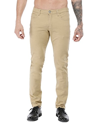 - ZLZ Men's Skinny Slim Fit Stretch Comfy Fashion Denim Jeans Pants Khaki 34