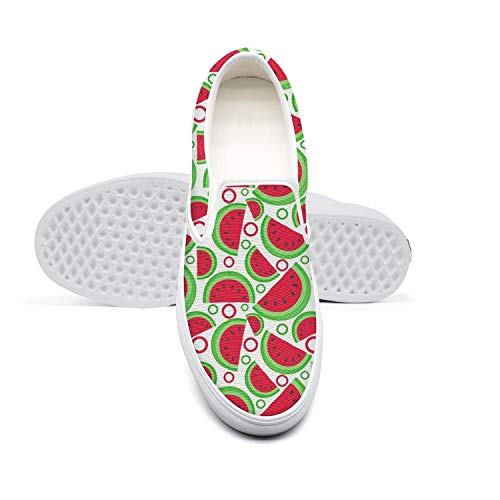 - Eredfs One in a Melon Words Watermelon Fruit Woman's Low Cut Casual Walking Shoes