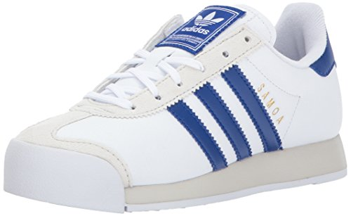 adidas Originals Boys' Samoa J Sneaker,White/Collegiate Royal/Talc,5.5 Medium US Big Kid