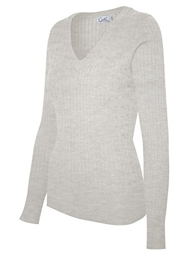 Stretch Knit Pullover - Cielo Women's Basic Solid Stretch V-neck Cable Knit Pullover Sweater Heather Grey L