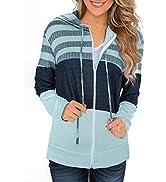 BLENCOT Women's Long Sleeve Zip-Up Hoodie Jacket Solid Color Sweatshirt Coat Gray