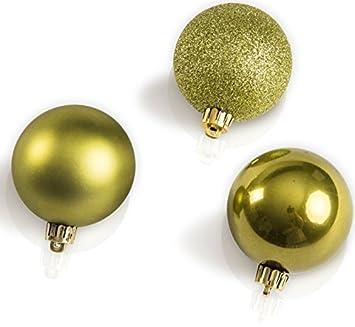 Chiccie 30 Set Weihnachtskugeln Oliven Grun 6cm 5cm 4cm