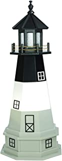 product image for DutchCrafters Decorative Lighthouse with Base - Wood, Oak Island Style (Light Grey/Black/White, 5)