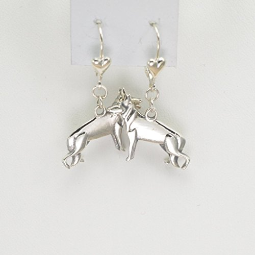 Sterling Silver German Shepherd Earrings, Silver German Shepherd Jewelry fr Donna Pizarro's Animal Whimsey Collection by Donna Pizarro Designs