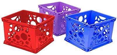 "Storex Large File Crate, 17.25 x 14.25 x 10.5"", Classroom Blue, Case of 3 (61460U03C)"