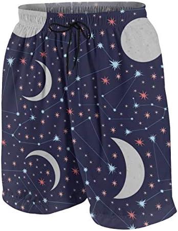キッズ ビーチパンツ 星空 月と星 サーフパンツ 海パン 水着 海水パンツ ショートパンツ サーフトランクス スポーツパンツ ジュニア 半ズボン ファッション 人気 おしゃれ 子供 青少年 ボーイズ 水陸両用