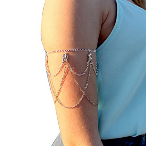 Perman Womens Fringed Leaves Arm Harness Slave Chain Cuff Armband Armlet Bracelet New