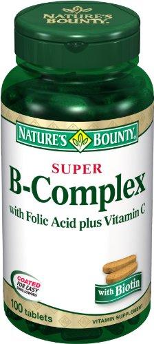 Bounty Nature Super B-complexe avec l'acide folique plus vitamine C, 100-Comte