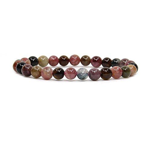 "Natural A Grede Multicolor Tourmaline Gemstone 6mm Round Beads Stretch Bracelet 7"" Unisex"