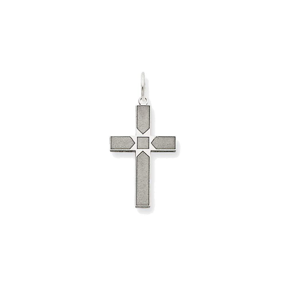 14K White Gold Laser Designed Cross Pendant