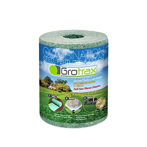 Grotrax | Patch N Repair | All-in-One Bermuda/Rye Grass Seed Mat Roll | Great for Lawn Spots, High Traffic Areas and Lawn Repairs | Ideal for Hot and Drought Conditions | As Seen On TV | 20 SQFT