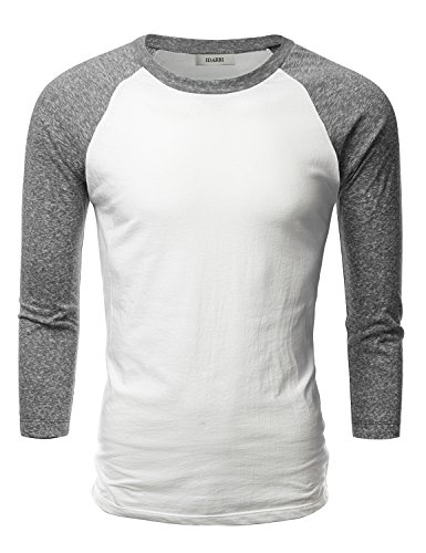 IDARBI Mens Crew Neck 3/4 Sleeve Raglan Baseball T-Shirt WHITECHARCOAL S