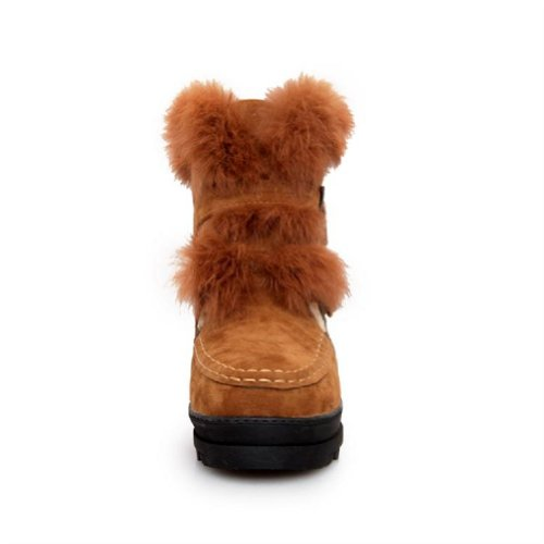 fur Foot Faux Wedge Top Platform Womens Boots Charm High Brown Fashion Snow Heel BtfOqdxw