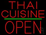 Thai Cuisine Block Open Green Line Neon Sign 24'' Tall x 31'' Wide x 3'' Deep
