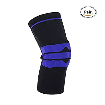 Meniscus Knee Sleeve for Women Sports Running,Cycling Protections Braces - Black M (Pack Pair)