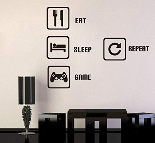 (TOARTi  Eat Sleep Game Repeat Wall Sticker Video Gamer Wall Sticker Game Room Decor Children Gift Nursery Boys Room Wall Vinyl Decal Lettering Stickers Home Decor  )