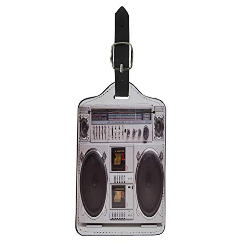 (Pinbeam Luggage Tag Front View of Vintage Boom Box Cassette Tape Suitcase Baggage Label )