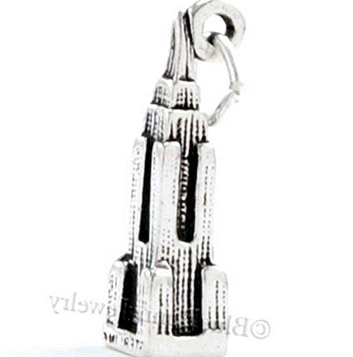 Empire State Charm Building Pendant New York Travel Solid Sterling Silver 3D Vintage Crafting Pendant Jewelry Making Supplies - DIY for Necklace Bracelet Accessories by CharmingSS -