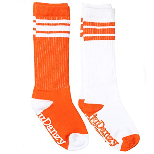 juDanzy knee high team color tube socks for toddler and youth boys and girls (2 Pack) (Youth Large/Adult Small (Shoe Size 5-8) - NO GRIP, Orange) -