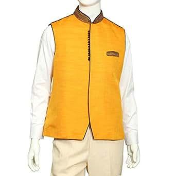 Tia Fashion Yellow Silk Vest For Men