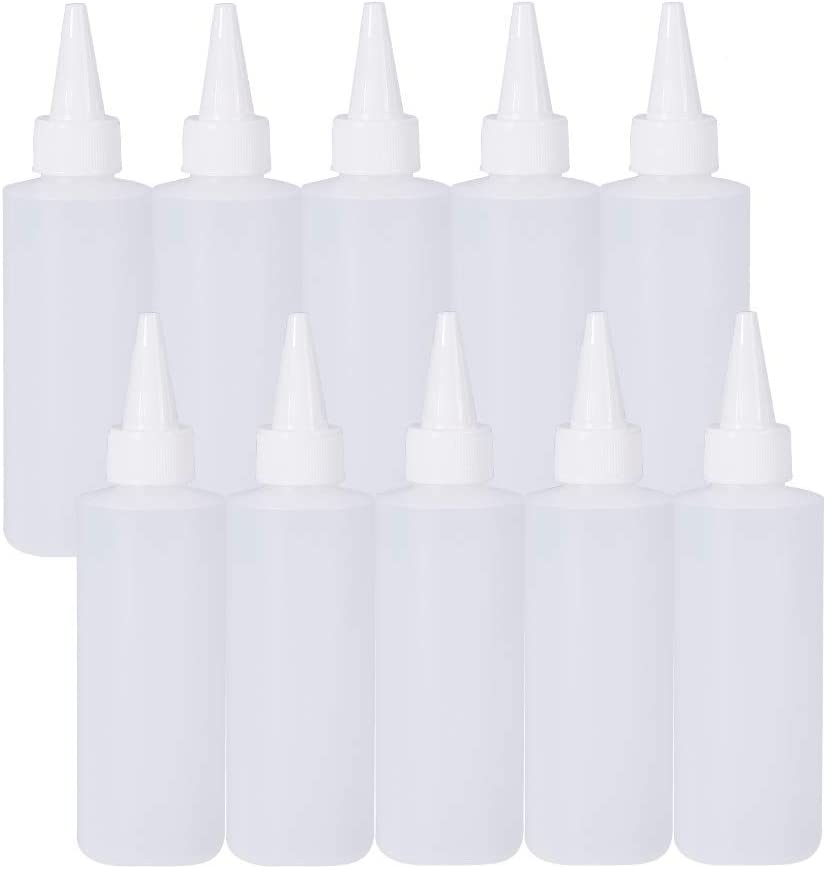 BENECREAT 10Pack 5 Ounce Plastic Squeeze Dispensing Bottles with Leak-Proof White Cap - Good for Crafts, Art, Glue, Multi Purpose